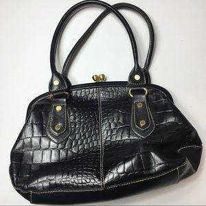 Franco Sarto Black Snake Skin Pattern Handbag
